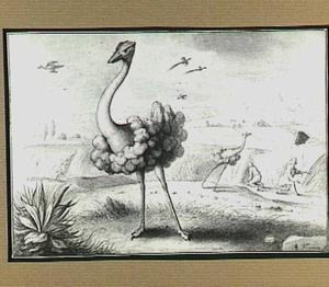 Heuvellandschap met struisvogels en oogstende boeren