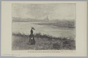 Vrouw aan de oever van een rivier en een kerktoren in de verte