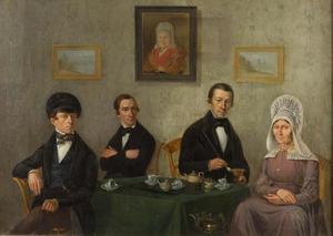 Portret van een familie, waarschijnlijk de familie van de kunstenaar
