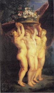 De drie gratiën met een mand van rozen