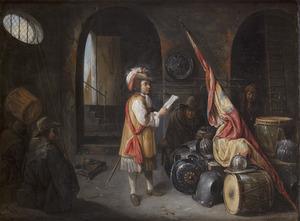 Interieur van een wachtlokaal met vier mannen bij  trommels, wapenrustingen en een vaandel