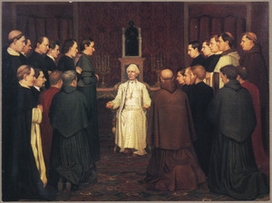 Audientie van mgr. Bottemanne, bisschop van Haarlem en andere Nederlandse priesters  bij paus Leo XIII te Rome op 13 maart 1885