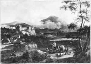 Zuidelijk landschap met reizgers en vee onderweg
