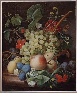 Stilleven van vruchten op een marmeren blad