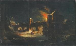 Winterlandschap met brug en brandende gebouwen