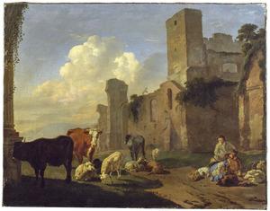 Rustende herders en vee in een landschap met ruïnes