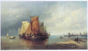Rivierlandschap met op de achtergrond Dordrecht (2)