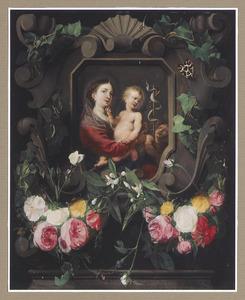 Cartouche versierd met bloemen met een voorstelling van de Maagd met het Christuskind en Johannes