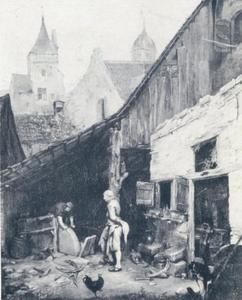 Werkplaats van een scharensliep, de Nieuwe Kruittoren te Zwolle in de verte