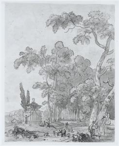 Arcadisch landschap met een tombe en fontein