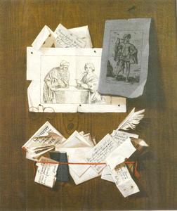 Trompe-l'oeil met brieven, prenten en een bril