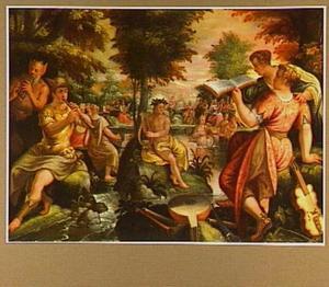 Allegorie van het gehoor: een godenverzameling met musicerende goden