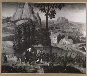Weids berglandschap met de vlucht naar Egypte