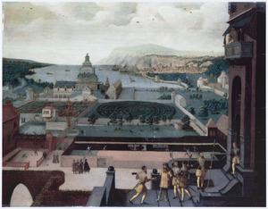 Renaissancepaleis in een panoramalandschap met scènes uit de geschiedenis van David en Batseba (2 Samuel 11-12)