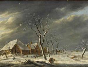 Winterlandschap met schaatsers en houtsprokkelaarster