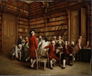 De encyclopaedisten in de bibliotheek van de koning