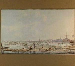 Het demonteren van houtvlotten op de Biesbosch bij Dordrecht