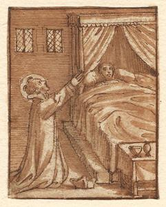 Heilige biddend bij een doodsbed