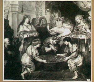 De zalving van Salomo door de priester Sadok (1 Koningen 1:39)