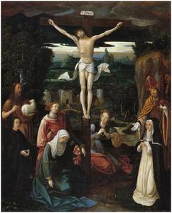 De kruisiging met stichterspaar en de HH. Johannes de Doper en Augustinus