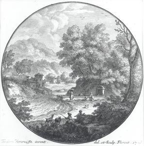 Heuvellandschap met herders en wasvrouwen bij een fontein