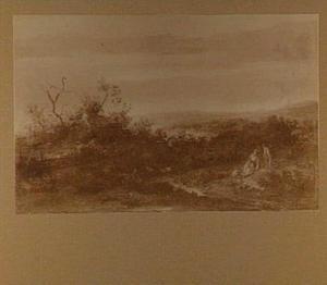 Duinlandschap met rustende figuren langs een weg