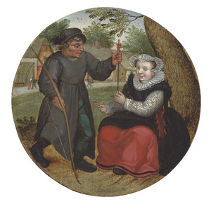 Boerenerf met een man die een vrouw een pijl overhandigt; uitbeelding van het spreekwoord: 'Geef je echtgenote niets dat tegen je gebruikt kan worden'
