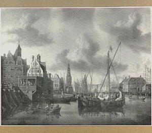 Amsterdam; het IJ met de Nieuwebrug, het Damrak, het Paalhuis, de Haringpakkerstoren en de Nieuwe Stadsherberg