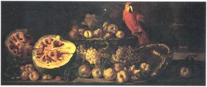 Vruchtenstilleven met een papegaai