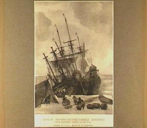 Twee walvisvaarders in het ijs met links op de voorgrond een tent waarin wordt gekookt