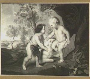 Jezus en Johannes de Doper als kinderen in een arcadisch landschap