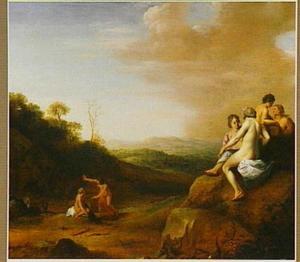 Diana en haar nimfen in een landschap