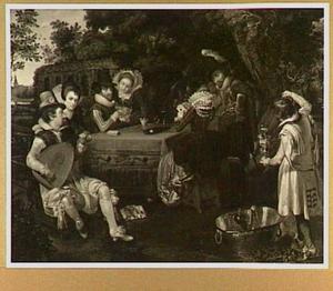 Kaartspelend en musicerend gezelschap in een tuin