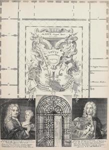 Plattegrond van de 'Kaiserliche Gallerie und Kunstkammers' in de Stallburg te Wenen met de portretten van Frans van Stampart en Anton Joseph von Prenner en een afbeedling van een toegangshek