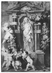 Standbeeld van de godin Ceres in een nis