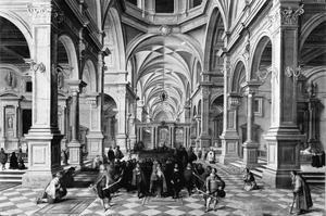 Gefantaseerd kerkinterieur met een processie