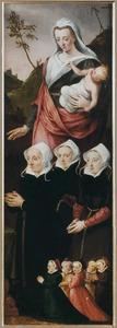 Groepsportret van vrouwelijke donoren met Maria met kind (Verso: Vrouwenfiguur met een heraldisch wapen)