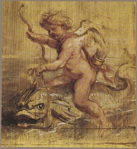 Cupido op een dolfijn