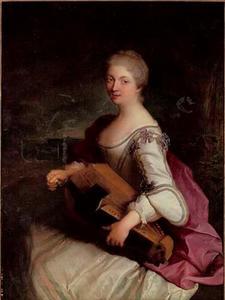 Portret van een vrouw met een draailier
