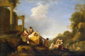 Italianiserend landschap met Diana en Callisto