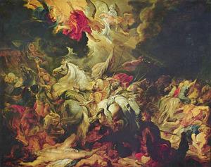 De engel doodt 185000 soldaten der Assyriërs gedurende de nacht (2 Koningen 19:35; Jesaja 37)