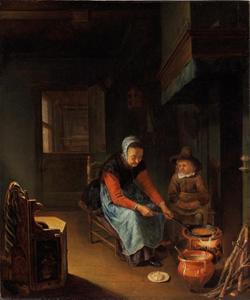 Interieur met een pannenkoeken bakkende vrouw en een jongen bij de haard