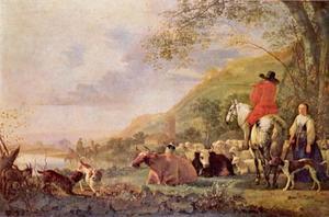 Heuvellandschap met ruiter in gesprek met een herderin
