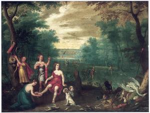 Boomrijk landschap met Diana en haar nimfen, rustend na de jacht