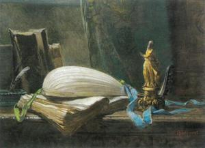Stilleven met luit, boeken en heiligenbeeldje