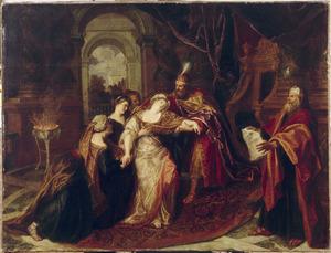 Ester bezwijmt voor  Ahasveros. De koning vangt haar op in zijn armen (Ester Apocrief 15:7-8)