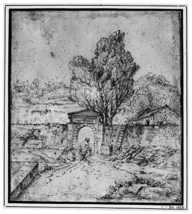 Muur met poortje in heuvelachtig landschap