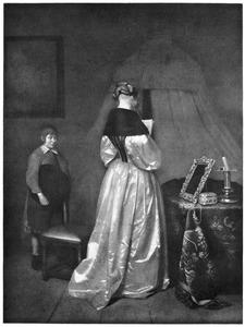 Interieur met een jonge vrouw die een brief leest , links een wachtende jongen