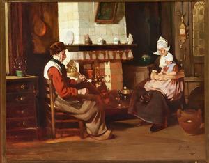 Interieur met familie in Volendamse klederdracht