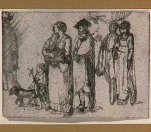 Vier figuren, twee kinderen en een hond